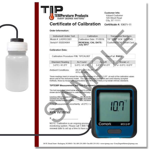 TIPREC025: WiFi Temperature Data Logger with LCD Display, Vial, Calibration Cert and Power Supply