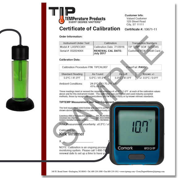 TIPREC018: WiFi Temperature Data Logger with LCD Display, Calibration Cert and Power Supply