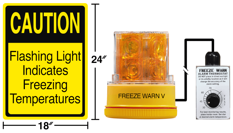 FREALM011: Freeze Warn V w/ Reflective Sign