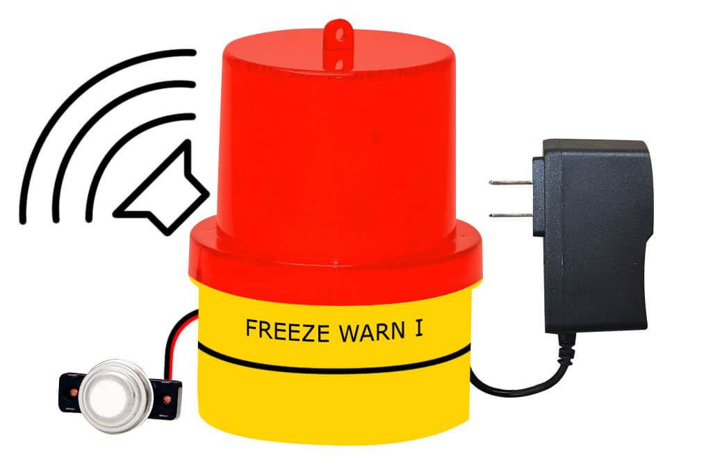 FREALM013P03: Freeze Warning Light and Buzzer, 14 Ft. Sensor Cable, and AC Power Supply