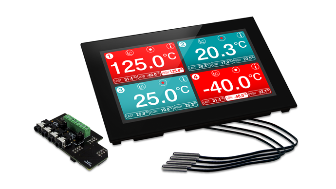 LASREC045: Panel Mountable Four-Channel Temperature Data Logger
