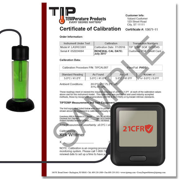 TIPREC016: WiFi Temperature Data Logger with LCD Display, Calibration Cert and Power Supply