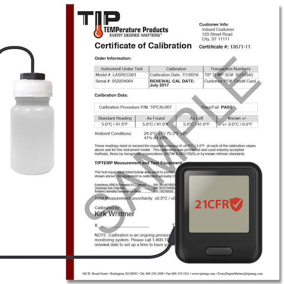 TIPREC019: WiFi Temperature Data Logger with LCD Display, Vial, Calibration Cert and Power Supply