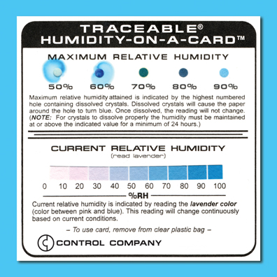 COCSEN112: Humidity Label Maximum %RH and Current %RH Humidity-on-a-Card