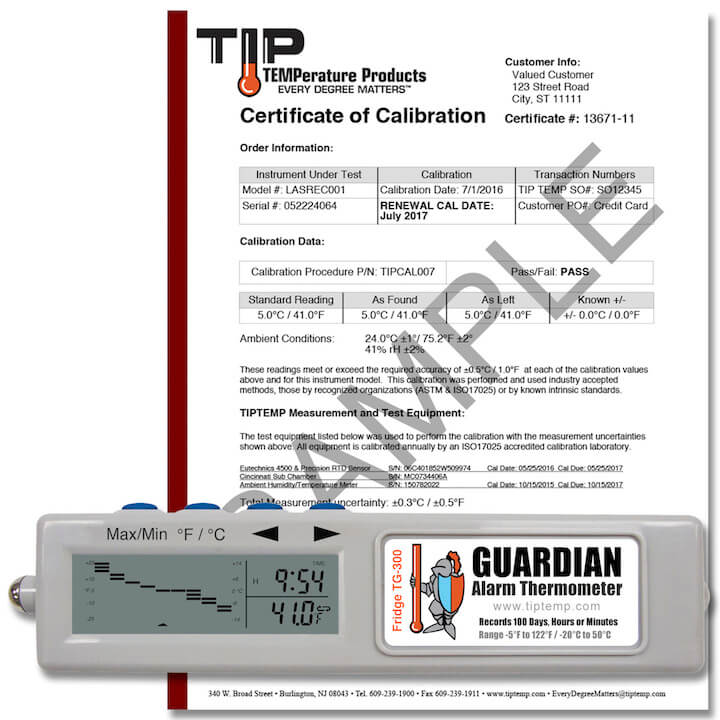 TIPREC003P01: TG300 Temp Recorder w/ Fridge Alarm and Calibration