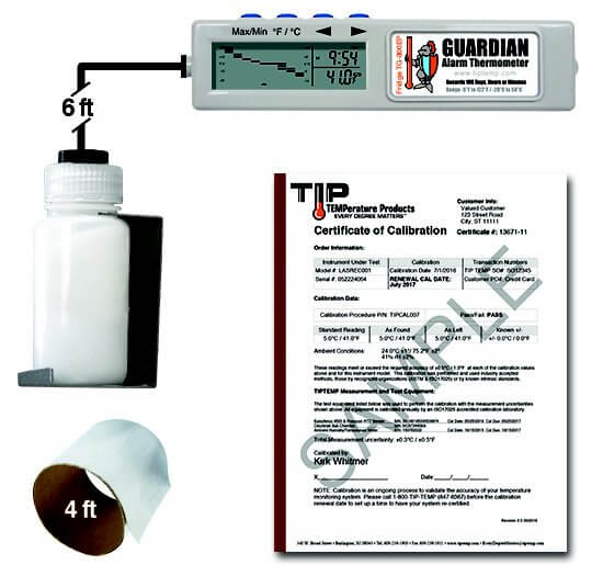 TIPREC005P02: TG-300EP for Fridge with Vial & Calibration Cert. @ 41°F