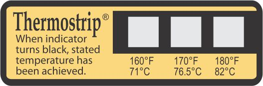 TLCSEN411: Temperature Label ThermoStrip Dishwasher 160°F/170°F/180°F - Pack of 25