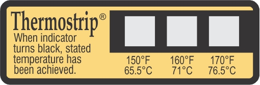 TLCSEN416: Temperature Label ThermoStrip Dishwasher  150°F-160°F-170°F - Pack of 25