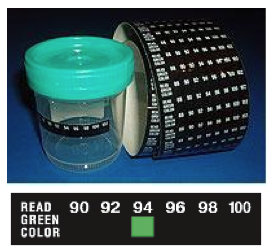 TLCSEN321: Urine Strip Temperature Label -  Fahrenheit
