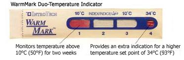 WMSSEN010: Temperature Label WarmMark Duo (10°C & 34°C)
