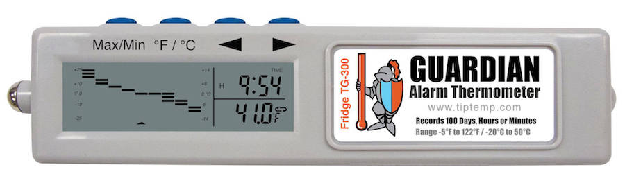 TIPREC001: TG-100 Guardian Freezer Alarm Thermometer with 4 Day Memory and Audible Alarm