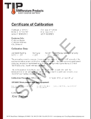 TIPCAL076: NIST traceable calibration document for temperature and humidity